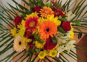 5 red roses, gerbera, chrisanthemums and alstromeria