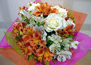 A bouquet with Alstromeria and roses in