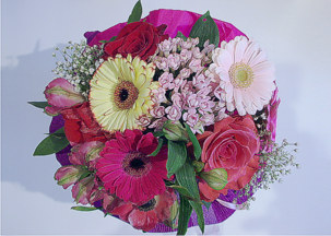 Gerbera, roses and chrisantemusms bouquet Color dance
